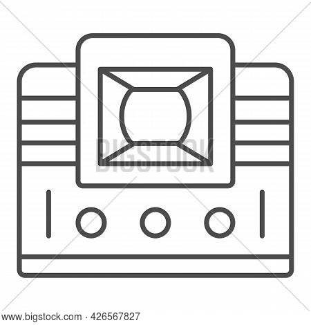 Retro Tv With Lens Thin Line Icon, Monitors And Tv Concept, Vintage Old Tv With Optic Lens Vector Si