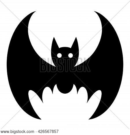 Bat Vector Icon. Isolated Illustration On A White Background. Black Silhouette Of A Nocturnal Animal