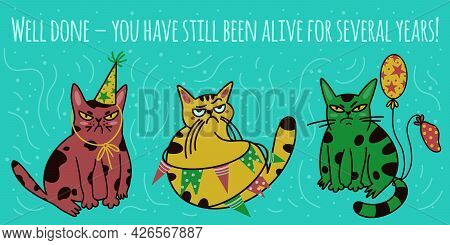 Vector Set With Cats Celebrating Birthday. Isolated Illustrations Of Animals On A Light Background.