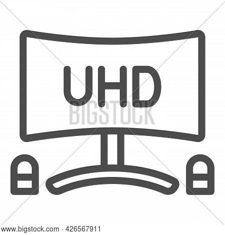 Uhd Monitor With Speakers Line Icon, Tv Monitors Concept, Tv Set With Loudspeaker Vector Sign On Whi