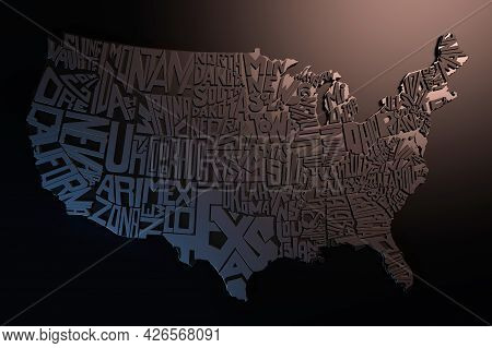 United States Of America Geography Map Lettering. 3d Render Of Usa Territory. Typographic Art Poster
