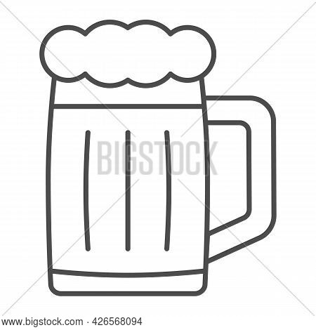 Glass Of Beer Thin Line Icon, Bar And Brewery Concept, Beer Mug Jar Vector Sign On White Background,