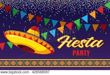 Fiesta Flyer. Mexican Party Invitations, Bright Vector Latino Design For Birthday Invitation Event B