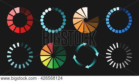 Load Page Circles. Pc Loading Digital Brightness Round Icons, Color Download Signs, Loaded Symbols O