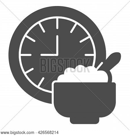 Wall Clock And Porridge Plate Solid Icon, Englishbreakfast Concept, Breakfast Vector Sign On White B