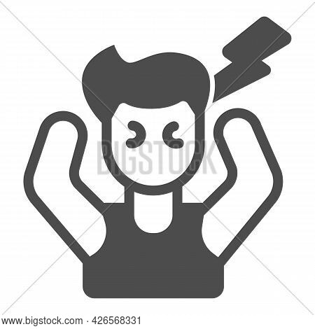 Employee In Stress Solid Icon, Officesyndrome Concept, Employee In Stress Vector Sign On White Backg