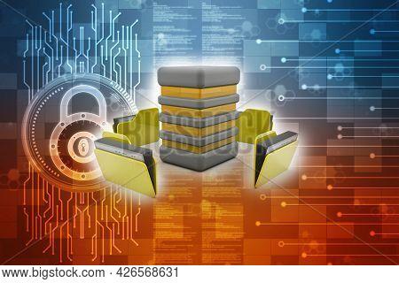 3d Illustration Of Data Sharing Concept In Internet Communication