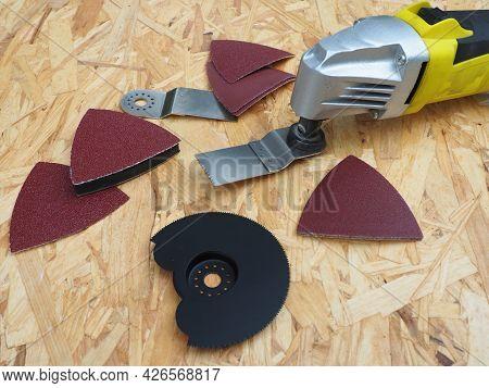 Electric Multifunction Oscillating Tool Kit. Heavy Duty Oscillating Multi-tool. Construction And Rep