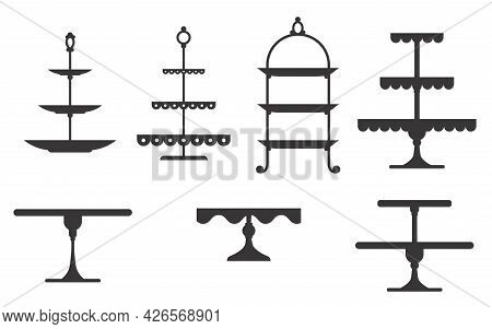 Set Of Cake Stands In Flat Icon Style. Empty Trays For Fruit And Desserts. Vector Illustration Isola