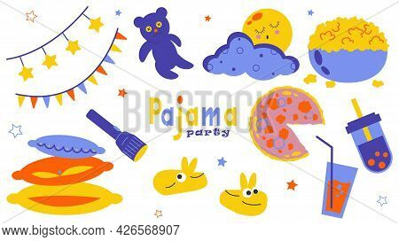 Clipart For A Pajama Party Invitation. Set Of Illustrations. Leisure And Relaxation Collection Isola