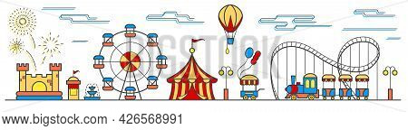 Panorama Of An Amusement Park With A Ferris Wheel, Circus, Rides, Balloon, Bouncy Castle And Food Ca