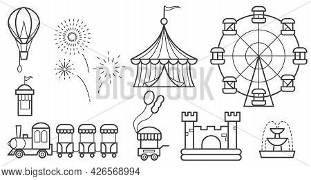 Amusement Park Outline Icon Set. Ferris Wheel, Circus, Rides, Balloon, Bouncy Castle, Train, Firewor