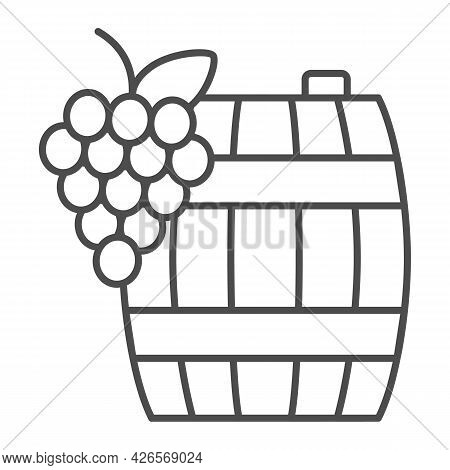 Grapes And Wine In Barrel Thin Line Icon, Winery Concept, Wooden Butt And Grape Cluster Vector Sign