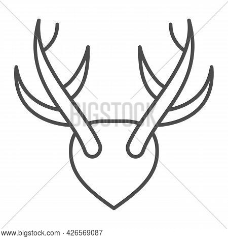 Horns As Trophy Thin Line Icon, Hunting And Decoration Concept, Mounted Antlers Horn Vector Sign On