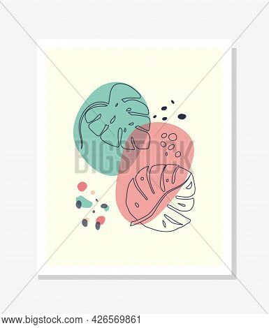 Modern Abstract Line Leaves In Lines And Arts Background With Different Shapes For Wall Decoration,
