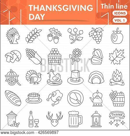 Thanksgiving Day Line Icon Set, Harvest Celebration Symbols Collection Or Sketches. Gratitude Thin L