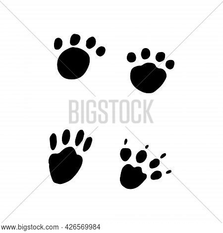 Paws Icon Set. Hand Drawn Doodle. Vector, Scandinavian, Nordic, Minimalism Monochrome Cat Dog Footpr