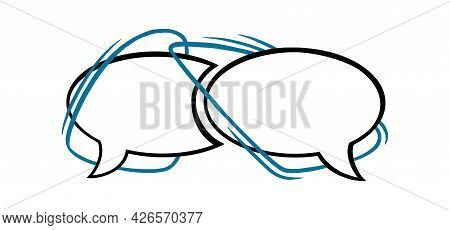 Circle Speech Bubble With Blue Lines. Outline Speech Box Or Frame Isolated In White Background. Hand