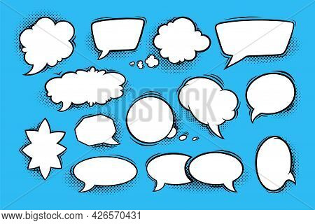 Speech Bubbles With Halftone Shadows In Comic Style. Set Of Speech Boxes Isolated In Blue Background