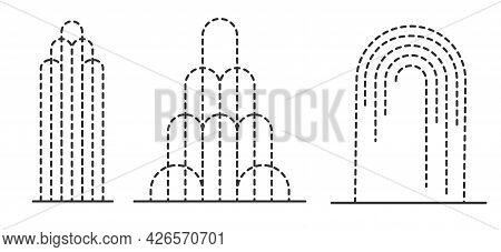Abstract Fountain Outline Set. Decorative Fountains Different Forms. Cascade And Water Splash. Vecto