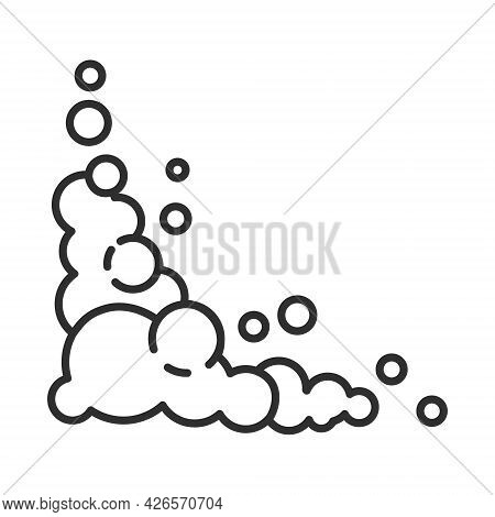 Soap Foam Cloud With Bubbles. Illustration Of Suds, Foam, Smoke, Shampoo, Gel And Cleanser. Flat Vec