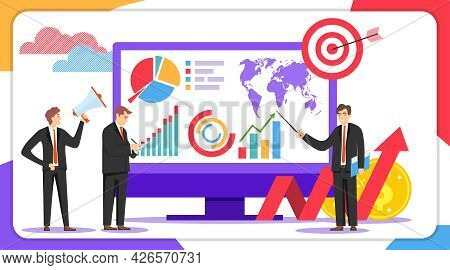 Business Analysis Concept. A Group Of People Is Exploring A New Business Infographic. Vector Illustr