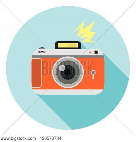 Retro Photo Camera Icon. Retro Photo Camera With Shadow. Vector Illustration. Vector.