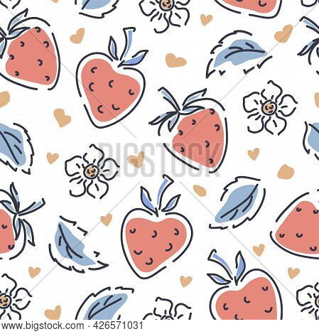 Strawberries, Flowers, Leaves And Hearts Seamless Pattern On A White Background. Vector Illustration