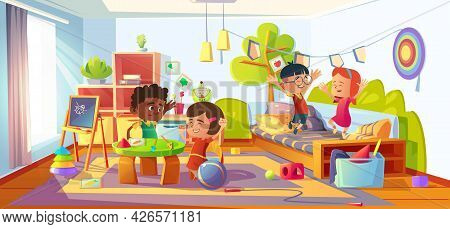 Kids Playing In Room, Children In Home, Kindergarten, Nursery Or Day Care Center Interior Jumping On