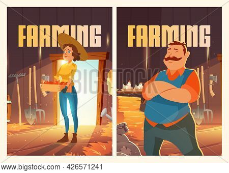 Farming Posters With Man And Woman In Barn With Chickens, Straw And Garden Tools. Vector Flyers With