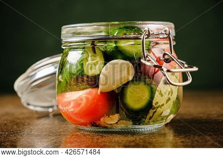 Fermented preserved vegetarian food concept.