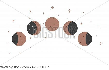 Alchemy Esoteric Mystical Magic Celestial Talisman With Moon Phases. Spiritual Occultism Object. Vec