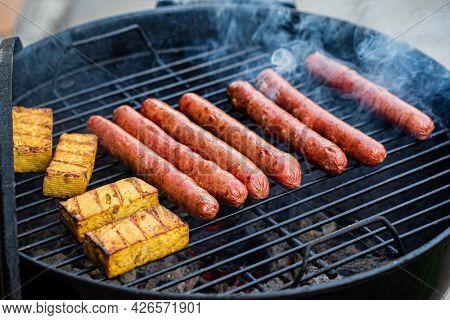 grilled pork sausages and tofu