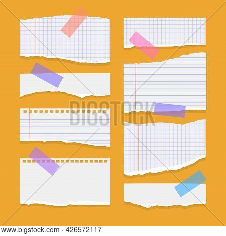 Set Of Torn Ripped Paper Sheets Of White Color, Notebook Paper On Orange Background. Vector Illustra