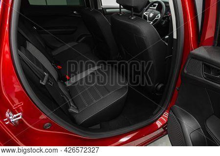 Novosibirsk, Russia - June 29, 2021: Renault Arkana, Car Passenger And Driver Seats With Seats Belt.