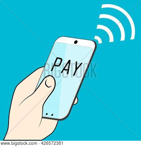 The Concept Of Mobile Payments. Pay Online. Vector
