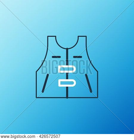 Line Hunting Jacket Icon Isolated On Blue Background. Hunting Vest. Colorful Outline Concept. Vector