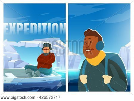 Expedition Poster With People On Glacier In Arctic. Concept Of Scientific Research On North Pole Or