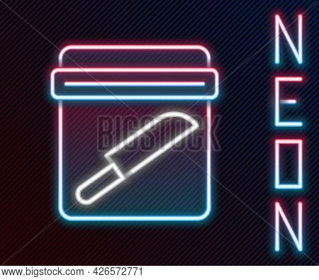 Glowing Neon Line Evidence Bag With Knife Icon Isolated On Black Background. Colorful Outline Concep