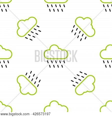 Line Cloud With Rain Icon Isolated Seamless Pattern On White Background. Rain Cloud Precipitation Wi