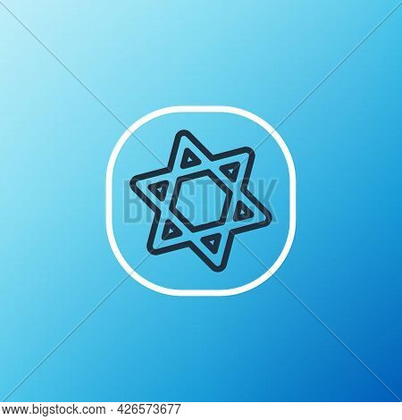 Line Tarot Cards Icon Isolated On Blue Background. Magic Occult Set Of Tarot Cards. Colorful Outline