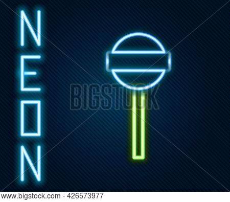 Glowing Neon Line Lollipop Icon Isolated On Black Background. Food, Delicious Symbol. Colorful Outli