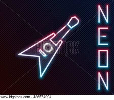 Glowing Neon Line Electric Bass Guitar Icon Isolated On Black Background. Colorful Outline Concept.