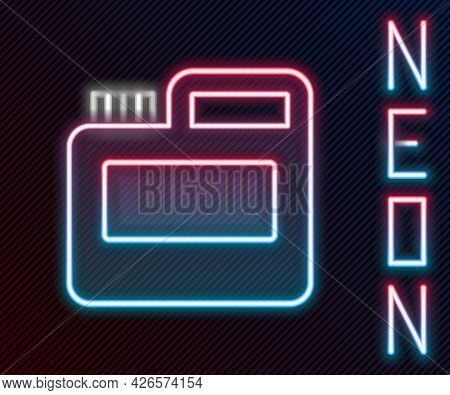 Glowing Neon Line Paint, Gouache, Jar, Dye Icon Isolated On Black Background. Colorful Outline Conce