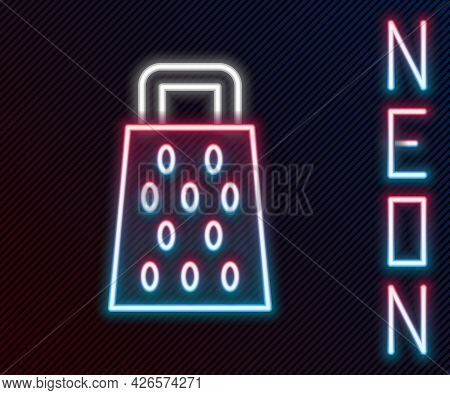 Glowing Neon Line Grater Icon Isolated On Black Background. Kitchen Symbol. Cooking Utensil. Cutlery