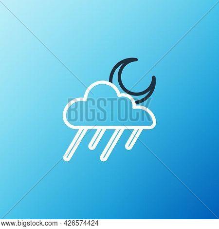 Line Cloud With Rain And Moon Icon Isolated On Blue Background. Rain Cloud Precipitation With Rain D