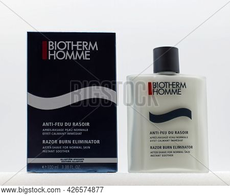 Bologna - Italy - June 25, 2021: Biotherm Homme After Shave. Razor Burn Eliminator, Instant Soother.