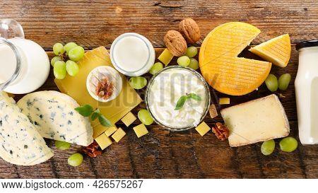 dairy products- cheese,  milk and yogurt
