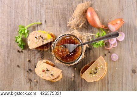 canape with foie gras and onion jam