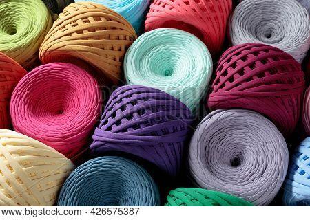 Colorful Cotton Craft Threads. Skeins Threads For Needlework.